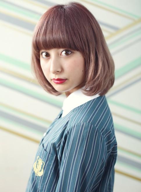 ピンクグラデーションボブ(髪型ボブ)
