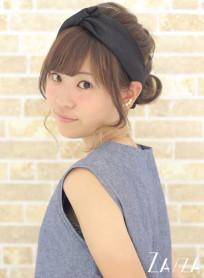 ターバン×くるりんぱアレンジ(髪型ミディアム)