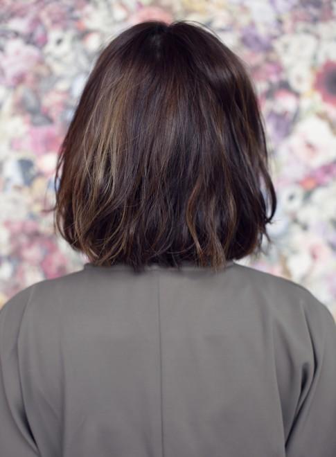 ウェービーソフトミディ×ショートバング(髪型ミディアム)