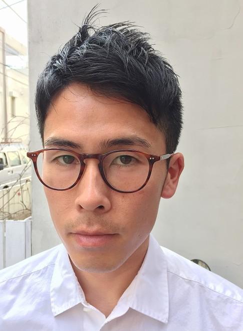 ショート メンズ 髪型 ビジネス メガネ
