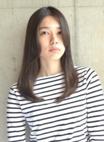 大人ナチュラルミディアム艶カラー(髪型ロング)