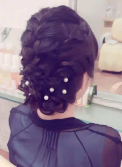 お洒落アップ(髪型セミロング)