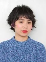 パープルカラーショート(髪型ショートヘア)