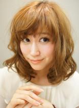 やっぱり小顔☆ユルフワセミディ(髪型ミディアム)