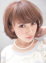 ツヤ感!ピンクパールガーリーマッシュボブ(髪型ボブ)