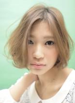 透明感・小顔効果・長めバングシンプルボブ(髪型ボブ)