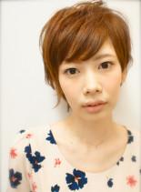 人気のショートウルフ アッシュ×オレンジ(髪型ショートヘア)