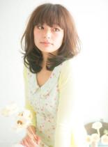 ゆるふわミディアム(髪型ミディアム)
