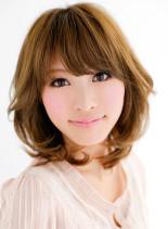大人ゆるふわミディ(髪型ミディアム)