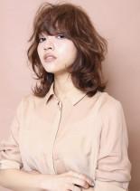 マッシュレイヤーミディ(髪型ミディアム)