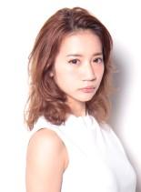 前髪かきあげヌーディーロブ(髪型ボブ)