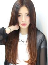 前髪なしナチュラルストレートロング(髪型ロング)