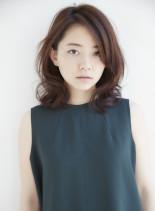のばしかけミディアムパーマ(髪型ミディアム)