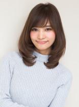 ひし形シルエット(髪型ミディアム)