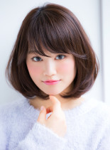 大人可愛いカジュアルフェミニンボブ(髪型ミディアム)