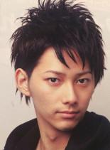 黒髪2ブロック&プチアシメ(髪型メンズ)
