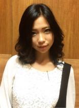 大人黒髪グラ(髪型ミディアム)