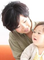 ママ&キッズ辺見えみり風黒髪ショートヘア(髪型ショートヘア)