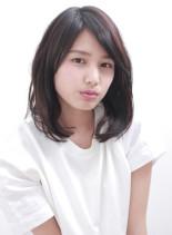 伸ばしかけ 前髪 ナチュラル ミディアム(髪型ミディアム)