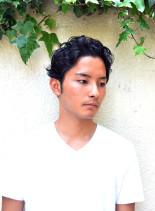 ワイルドなセクシー毛流れショート(髪型メンズ)