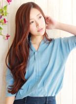 ミルフィーユカラー・ロングカジュアル(髪型ロング)