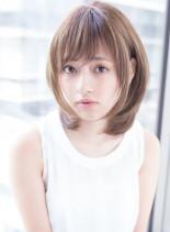 小顔レイヤー 縮毛矯正◎(髪型ミディアム)