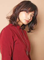 ゆるふわパーマが可愛いロブスタイル(髪型ミディアム)