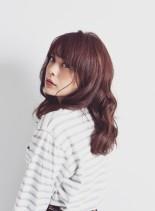 モテ髪 カシスカラーセミディ(髪型セミロング)