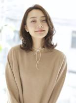 大人ミディ×かきあげヘアー(髪型ミディアム)