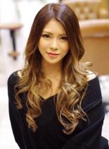 外国人風グラデーションカラー(髪型ロング)