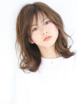 デジキュアパーマ+ミディアム+ウェーブ(髪型ミディアム)