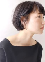 大人が似合う ショートバング 黒髪(髪型ボブ)