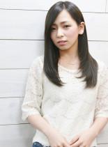 大人かわいい黒髪フェミニンストレート♪(髪型ロング)