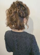 大人の編み込みハーフアップ(髪型ミディアム)