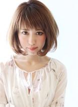 スタイルを選ばないシンプルワンカールボブ(髪型ボブ)