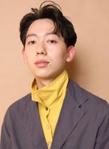 かきあげウェーブショート(髪型メンズ)