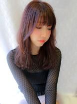 大人可愛いピンクアッシュ(髪型ロング)