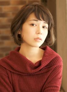 ワイドバングのショートボブ☆モーブカラー(ビューティーナビ)
