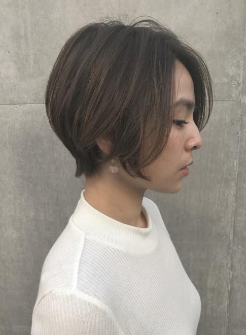 前髪長めショート (髪型ボブ)(ビューティーナビ)