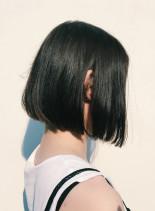 ダークブルーアッシュシンプルボブ(髪型ボブ)