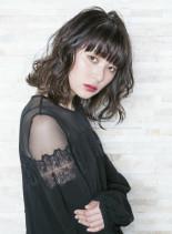 抜け感ミディアムウェーブ(髪型ミディアム)
