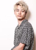 外国人風ホワイトベージュグラデーション(髪型メンズ)