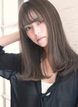セミロング☆ナチュラルグレージュ(髪型ロング)