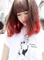 カット + マーブルグラデーション(髪型ミディアム)