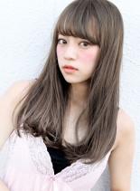 ハーフブリーチ + ホワイトブラウン (髪型ロング)