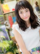 美人顔ウェットウェーブ(髪型セミロング)