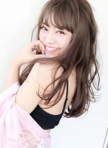 ハーフブリーチ+ホワイトブラウン (髪型ロング)