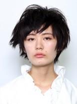 ゆるめパーマの無造作ショート(髪型ショートヘア)