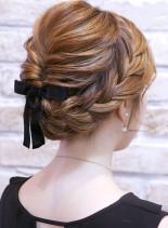 編み込みアップスタイル(髪型ロング)