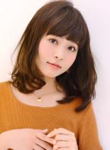 フェミニン☆シナモンベージュミディ(髪型ミディアム)